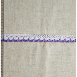 Кружево хлопковое, вязаное, KHC-0036, 28мм, цвет белый с сиреневым