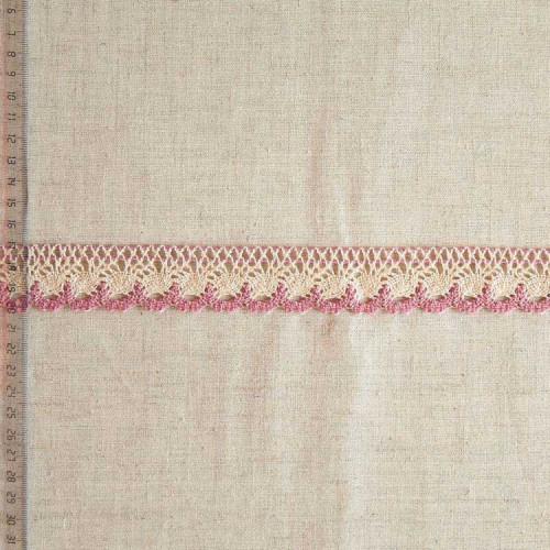Кружево хлопковое, вязаное, KHC-0039, 32мм, цвет бежевый с розовым