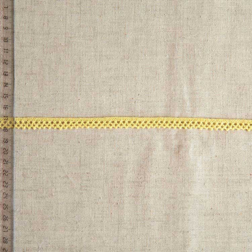 Кружево хлопковое, вязаное, KHC-0041 10мм, цвет бледно-желтый