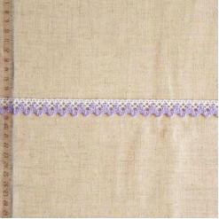 Кружево хлопковое, вязаное, KHC-0042, 18мм, цвет белый с сиреневым