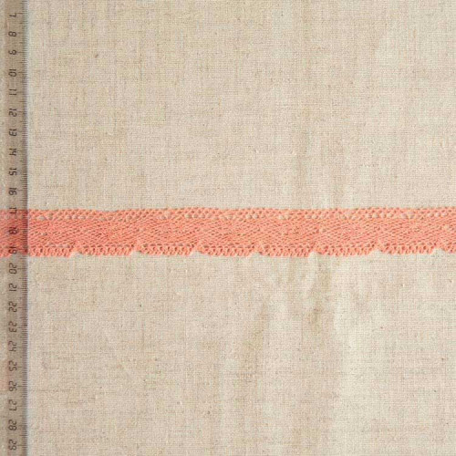 Кружево хлопковое, вязаное, KHC-0043, 25мм, цвет лососевый