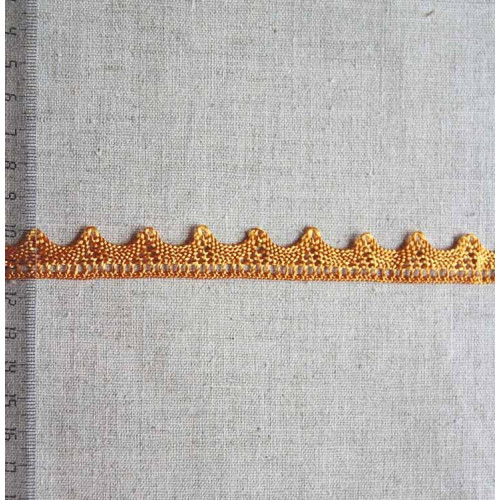 Кружево полиэстер, 15мм, цвет блестящий золотой, KSC-0001