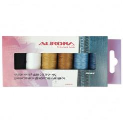 Набор ниток для отстрочки джинсовых и декоративных швов, Aurora, AU-N80C