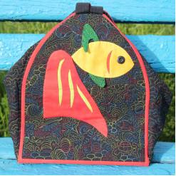 Рюкзак текстильный стёганый с аппликацией «Золотая рыбка»