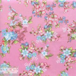 Хлопок китайский «Цветочные букеты на розовом», BY-00015