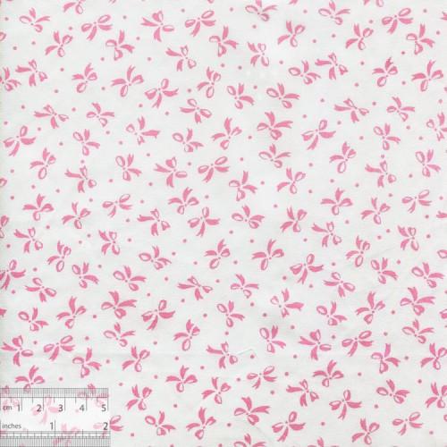 """Хлопок китайский """"Розовые бантики на белом"""", BY-00022"""