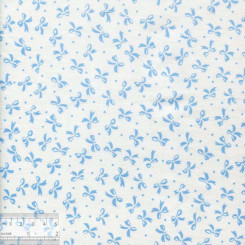 """Хлопок китайский """"Голубые бантики на белом"""", BY-00024"""