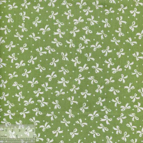 Хлопок китайский «Белые бантики на зелёном», BY-00025
