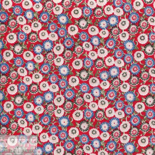 Ткань хлопок «Маргаритки на красном», DFS-00001