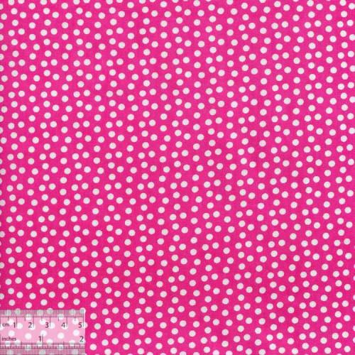 Ткань хлопок «Белый горошек на розовом», DFS-00005
