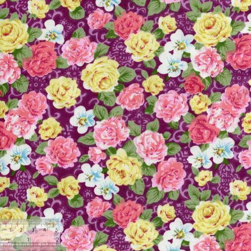Ткань хлопок «Чайные розы бордо», DFS-00017