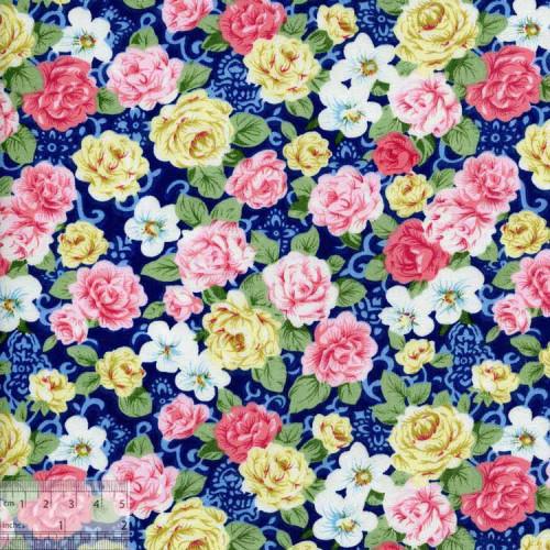 """Ткань хлопок """"Чайные розы синий"""""""