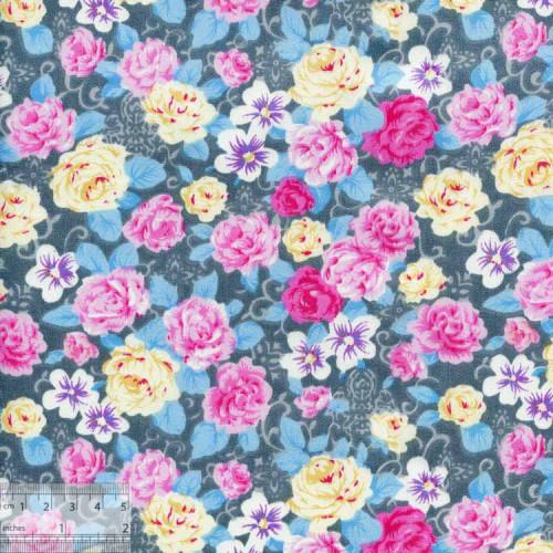Ткань хлопок «Чайные розы серо-голубой», DFS-00019