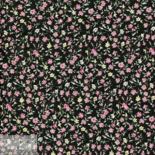 Ткань хлопок «Розовая гипсофила черный», DFS-00022