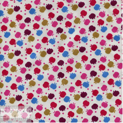 Ткань хлопок «Яблочки на снегу розовые», DFS-00030, 80х50см