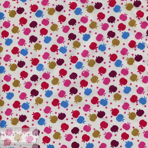 """Ткань хлопок """"Яблочки на снегу розовые"""""""