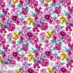 Ткань хлопок «Ночные розы - малиновый», DFS-00039