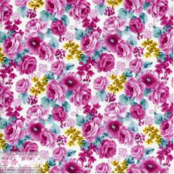 Ткань хлопок «Ночные розы - малиновый», DFS-00039, 80х50см