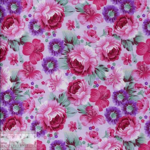 Ткань хлопок «Роза Барбара сиреневый», DFS-00049