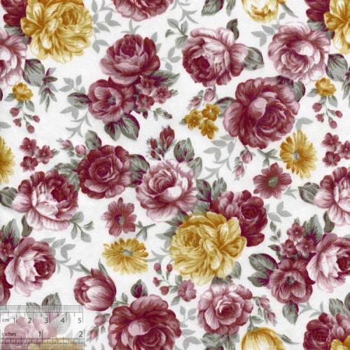 Ткань хлопок «Роза Ботичелли терракотовая», DFS-00053