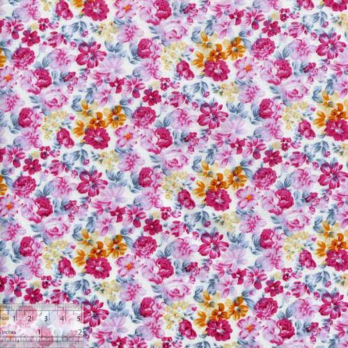 Ткань хлопок «Душистые флоксы розовый», DFS-00054