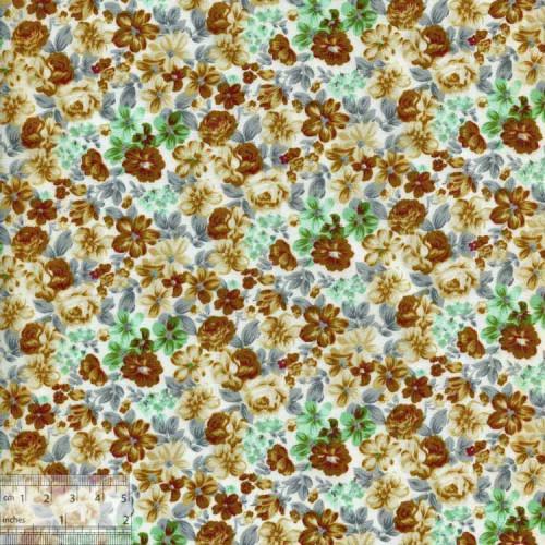Ткань хлопок «Душистые флоксы бежево-коричневый», DFS-00055