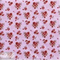 Ткань хлопок «Букетики петуний терракотовые», DFS-00056, 80х50см
