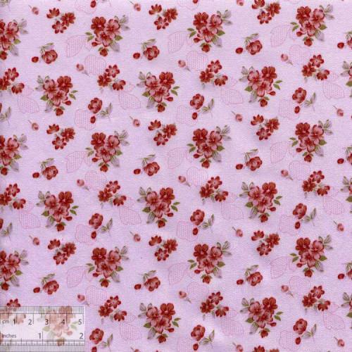 Ткань хлопок «Букетики петуний терракотовые», DFS-00056