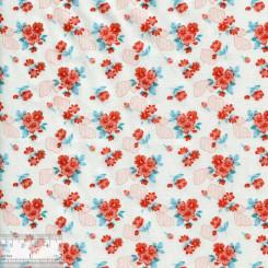 Ткань хлопок «Букетики петуний алые», DFS-00057