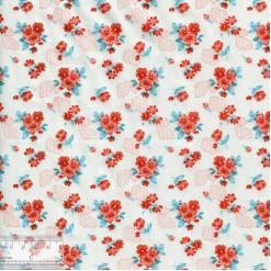 Ткань хлопок «Букетики петуний алые», DFS-00057, 80х50см
