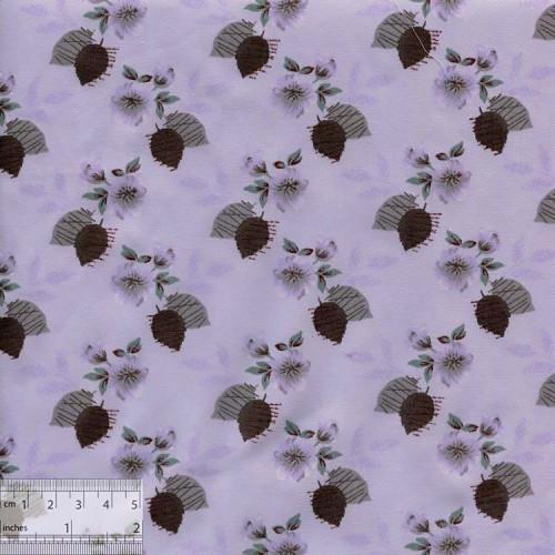 Ткань хлопок «Листики серый», DFS-00075