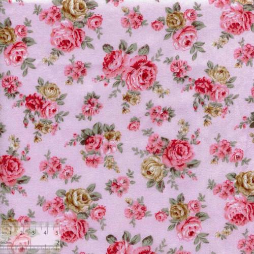 Ткань хлопок «Винтажная роза нежно-розовый», DFS-00079