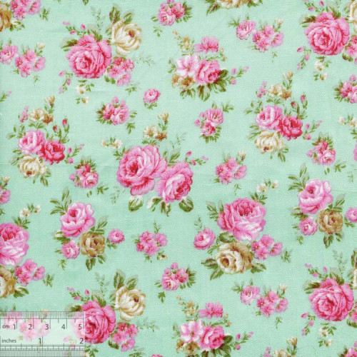 """Ткань хлопок """"Винтажная роза нежно-бирюзовый"""""""