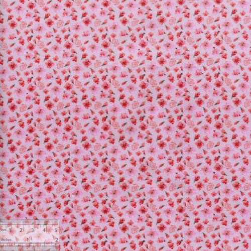 Ткань хлопок «Маргаритки розовый», DFS-00082