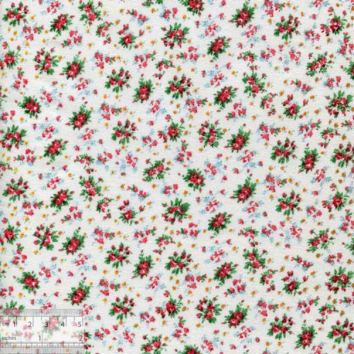 Ткань хлопок «Мелкие букетики - белый», DFS-00098