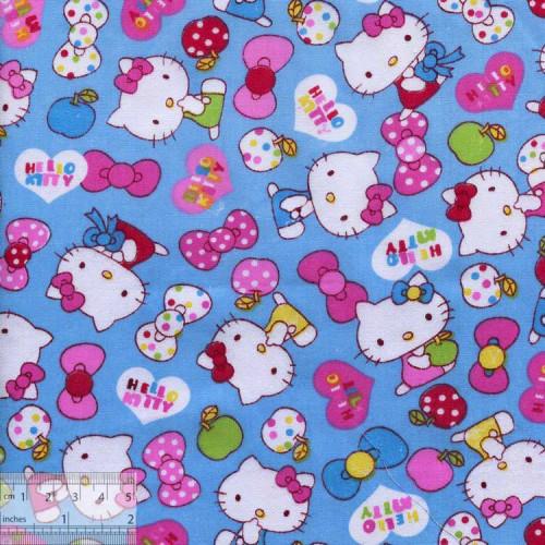 Ткань хлопок «Китти на голубом», DFS-00104