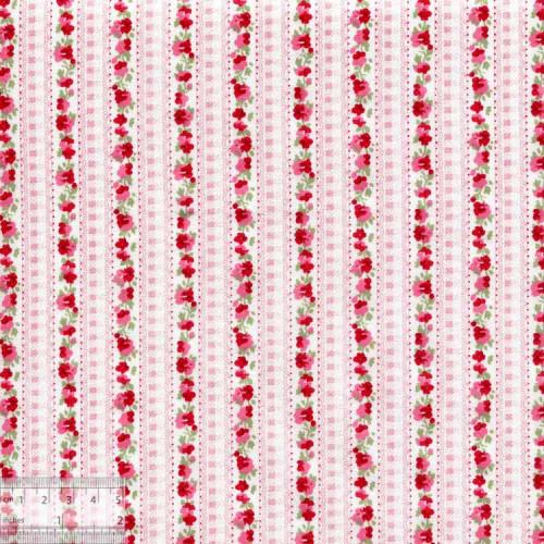Ткань хлопок «Цветочная дорожка красный», DFS-00128