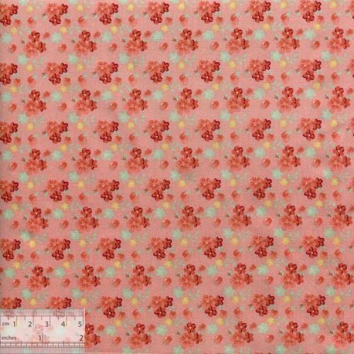 Ткань хлопок «Букетики на коралловом», DFS-00130