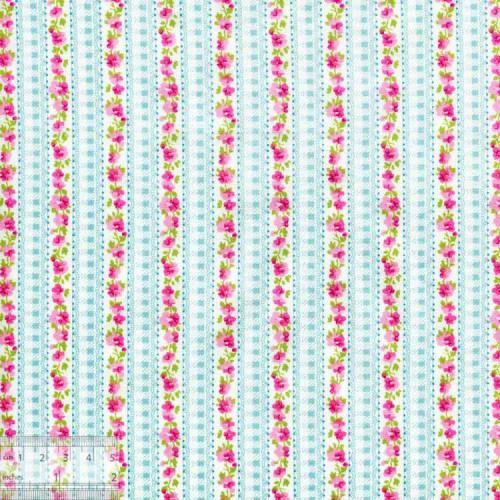 Ткань хлопок «Цветочная дорожка на голубом», DFS-00142