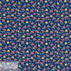 Ткань хлопок «Розочки на синем», DFS-00148