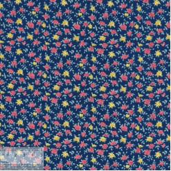 Ткань хлопок «Розочки на синем», DFS-00148, 80х50см