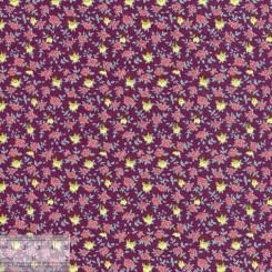 Ткань хлопок «Розочки на бордовом», DFS-00149