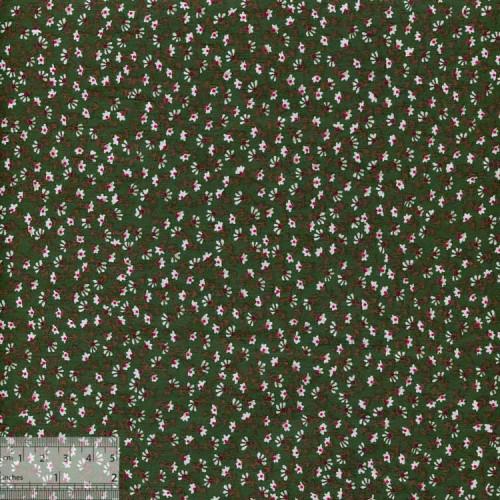 Ткань хлопок «Ромашковый луг зелёный», JL-00006