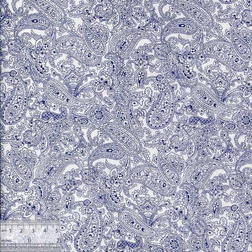 Ткань хлопок «Пэйсли синий», JL-00008