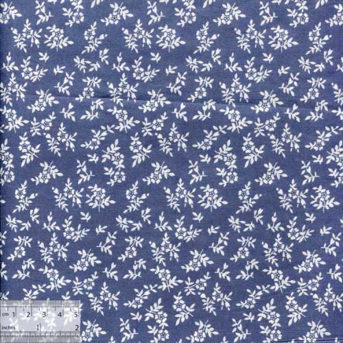 Ткань для рукоделия хлопок «Веточки на синем»