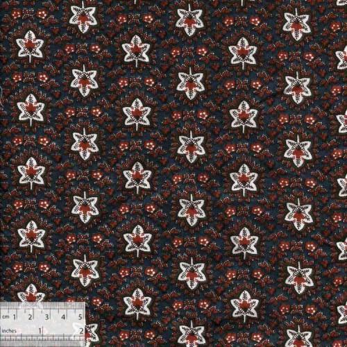 Ткань хлопок «Кленовые листья на серо-синем», JL-00016
