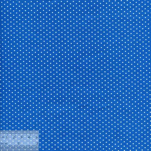 Ткань хлопок «Горошки белые на голубом», JL-00031