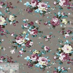 Ткань хлопок «Роза Виктория на сером», JL-00042