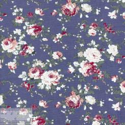Ткань хлопок «Роза Виктория на синем», JL-00043