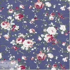 Ткань хлопок «Роза Виктория на синем», JL-00043, 75х50см